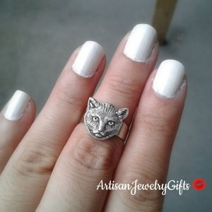 Sterling Silver Cat Ring Kitty Cat Ring Adjustable